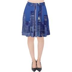 Space Needle Seattle Washington Velvet High Waist Skirt