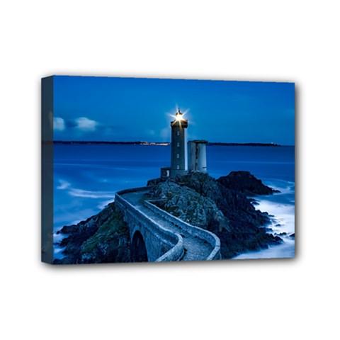 Plouzane France Lighthouse Landmark Mini Canvas 7  X 5