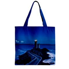 Plouzane France Lighthouse Landmark Zipper Grocery Tote Bag