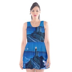 Plouzane France Lighthouse Landmark Scoop Neck Skater Dress