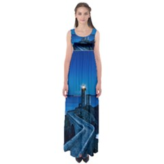 Plouzane France Lighthouse Landmark Empire Waist Maxi Dress