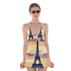 Eiffel Tower Paris France Landmark Halter Swimsuit Dress