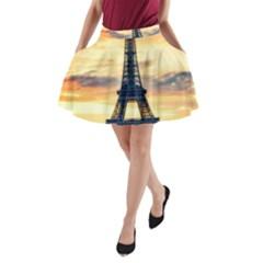 Eiffel Tower Paris France Landmark A Line Pocket Skirt