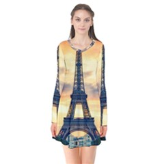 Eiffel Tower Paris France Landmark Flare Dress