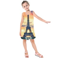 Eiffel Tower Paris France Landmark Kids  Sleeveless Dress