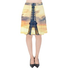 Eiffel Tower Paris France Landmark Velvet High Waist Skirt
