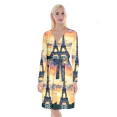 Eiffel Tower Paris France Landmark Long Sleeve Velvet Front Wrap Dress