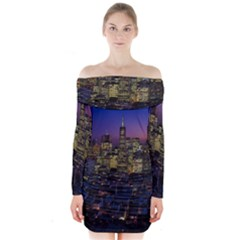 San Francisco California City Urban Long Sleeve Off Shoulder Dress