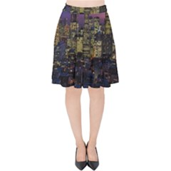 San Francisco California City Urban Velvet High Waist Skirt