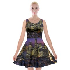 San Francisco California City Urban Velvet Skater Dress