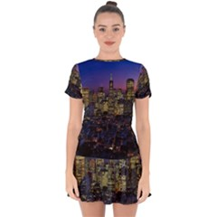 San Francisco California City Urban Drop Hem Mini Chiffon Dress