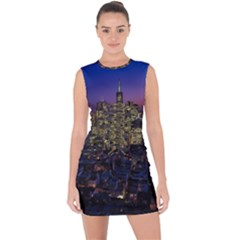 San Francisco California City Urban Lace Up Front Bodycon Dress