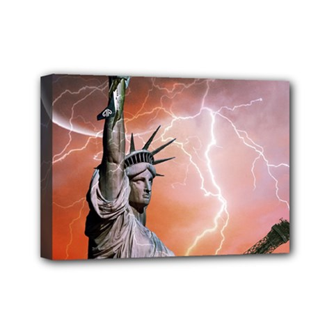 Statue Of Liberty New York Mini Canvas 7  X 5
