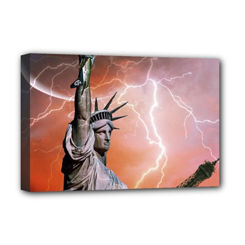 Statue Of Liberty New York Deluxe Canvas 18  X 12