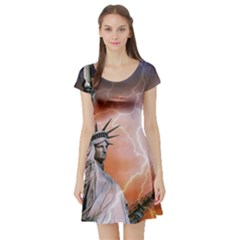 Statue Of Liberty New York Short Sleeve Skater Dress