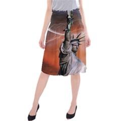 Statue Of Liberty New York Midi Beach Skirt