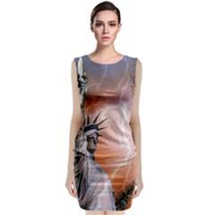 Statue Of Liberty New York Classic Sleeveless Midi Dress