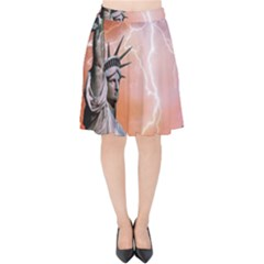 Statue Of Liberty New York Velvet High Waist Skirt