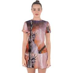 Statue Of Liberty New York Drop Hem Mini Chiffon Dress