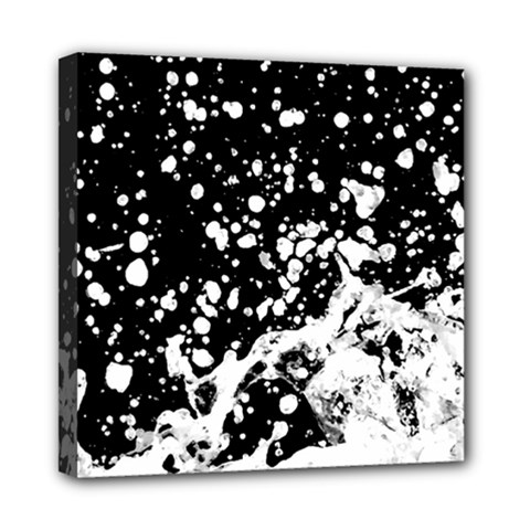 Black And White Splash Texture Mini Canvas 8  X 8