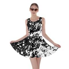 Black And White Splash Texture Skater Dress