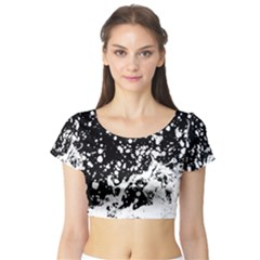 Black And White Splash Texture Short Sleeve Crop Top (tight Fit)