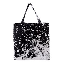 Black And White Splash Texture Grocery Tote Bag