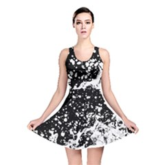 Black And White Splash Texture Reversible Skater Dress
