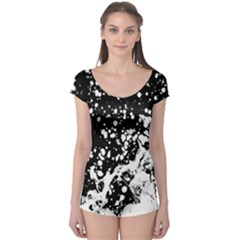 Black And White Splash Texture Boyleg Leotard