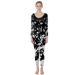 Black And White Splash Texture Long Sleeve Catsuit