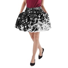 Black And White Splash Texture A Line Pocket Skirt