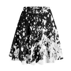 Black And White Splash Texture High Waist Skirt