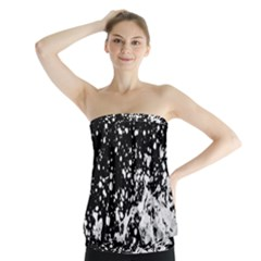 Black And White Splash Texture Strapless Top