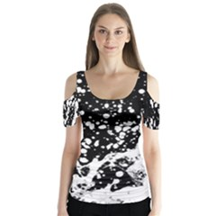 Black And White Splash Texture Butterfly Sleeve Cutout Tee