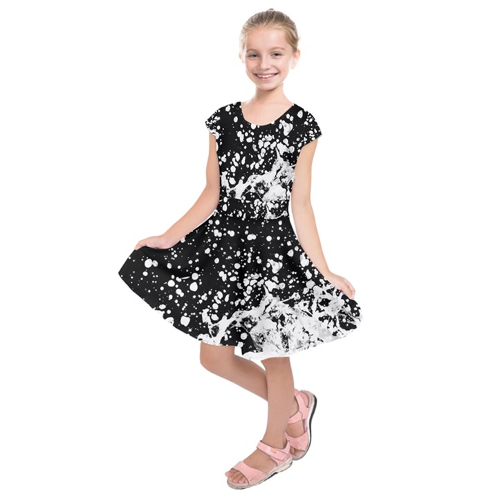 Black And White Splash Texture Kids  Short Sleeve Dress