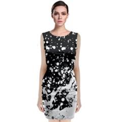 Black And White Splash Texture Sleeveless Velvet Midi Dress