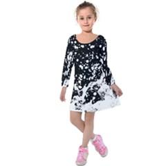 Black And White Splash Texture Kids  Long Sleeve Velvet Dress