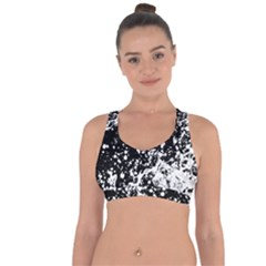 Black And White Splash Texture Cross String Back Sports Bra