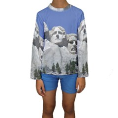 Mount Rushmore Monument Landmark Kids  Long Sleeve Swimwear