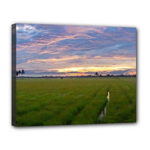 Landscape Sunset Sky Sun Alpha Canvas 14  X 11