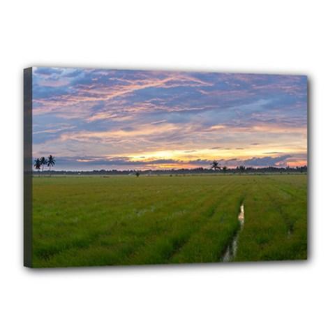 Landscape Sunset Sky Sun Alpha Canvas 18  X 12