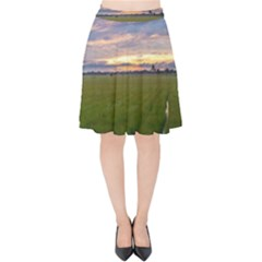 Landscape Sunset Sky Sun Alpha Velvet High Waist Skirt