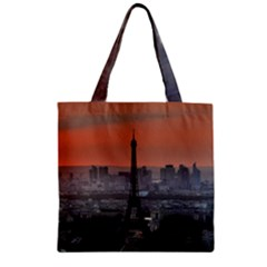 Paris France French Eiffel Tower Zipper Grocery Tote Bag