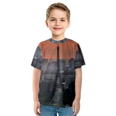 Paris France French Eiffel Tower Kids  Sport Mesh Tee