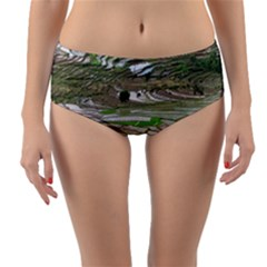 Rice Fields Terraced Terrace Reversible Mid Waist Bikini Bottoms