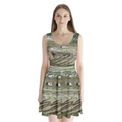 Rice Fields Terraced Terrace Split Back Mini Dress