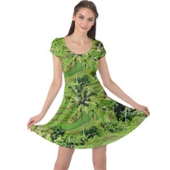 Greenery Paddy Fields Rice Crops Cap Sleeve Dress