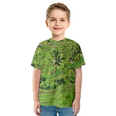 Greenery Paddy Fields Rice Crops Kids  Sport Mesh Tee
