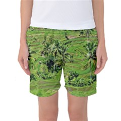 Greenery Paddy Fields Rice Crops Women s Basketball Shorts