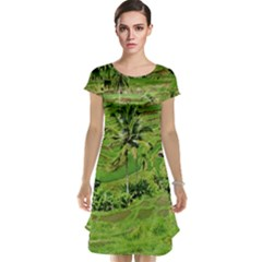 Greenery Paddy Fields Rice Crops Cap Sleeve Nightdress